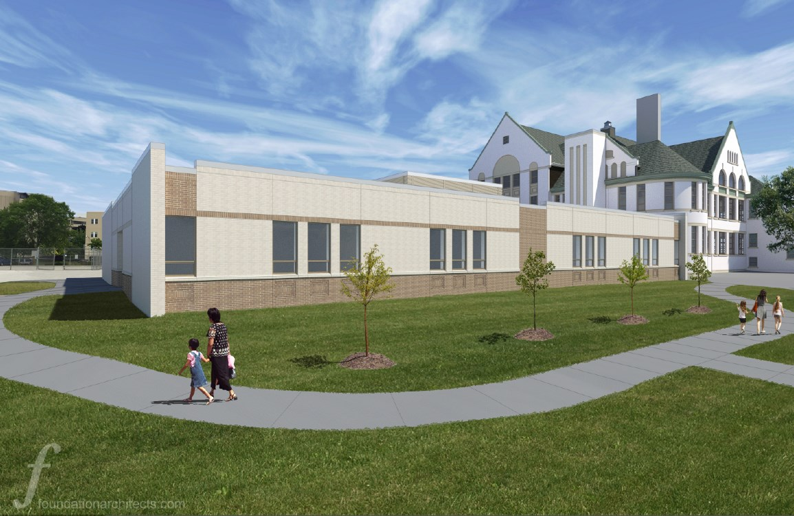 Rendering of the Maryland Avenue Montessori School addition. Rendering by Foundation Architects, LLC.