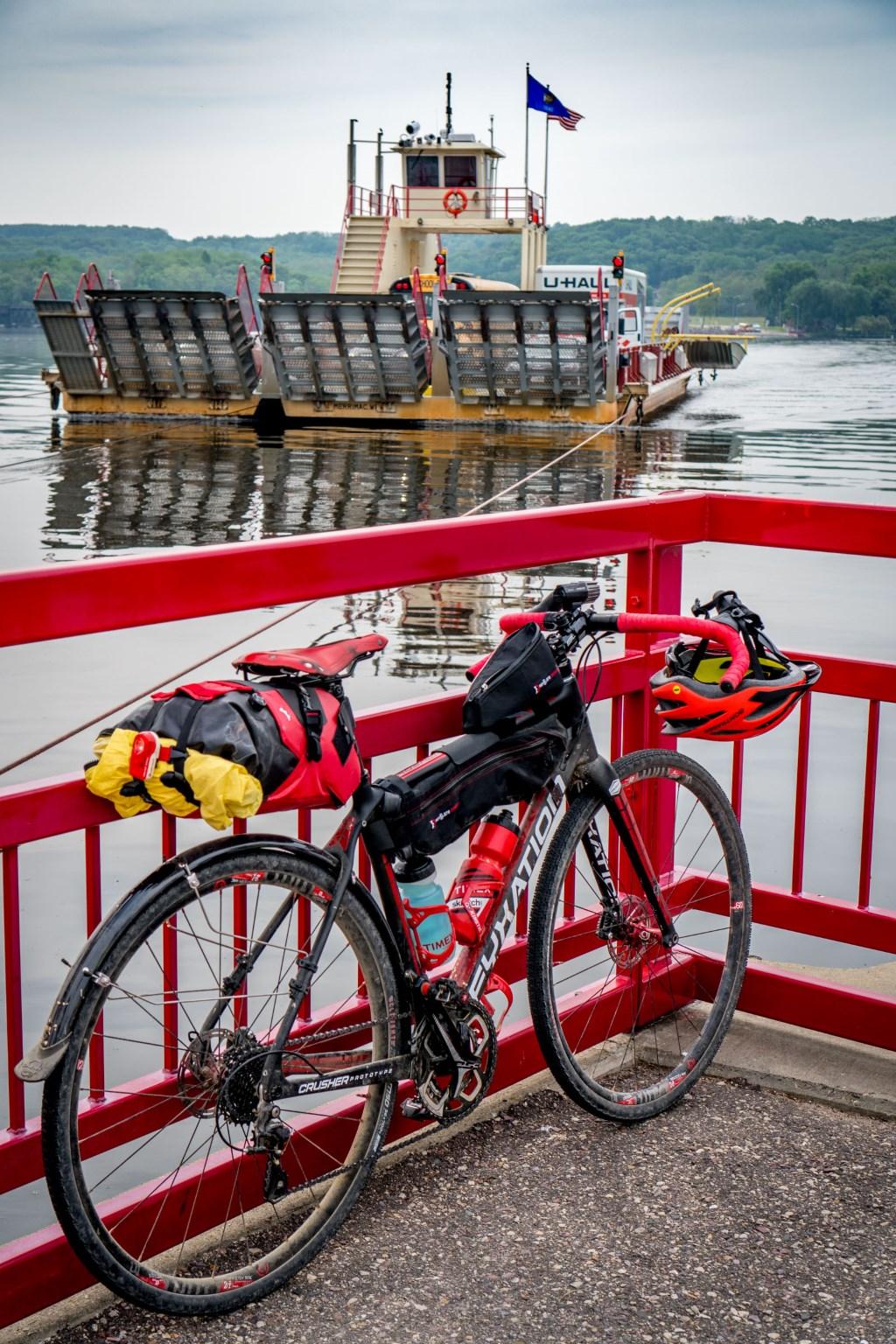 Multi-modal trip: a train, a ferry and bikes.