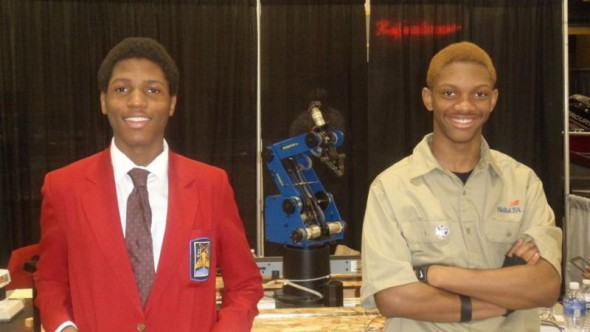 Adrian Ellis (L) and Maurice Pulley (R) earned first place honors in the Robotics and Automation Technology competition at the Wisconsin SkillsUSA contest in April. Photo courtesy of MPS.
