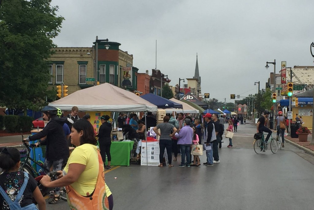 Cesar E. Chavez Drive during the 2015 Ciclovia MKE. Photo courtesy of the Clarke Square Neighborhood Initiative.