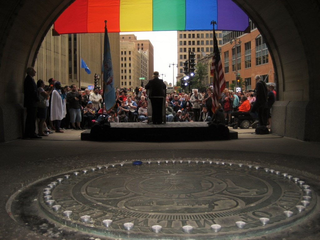 City Hall Vigil For Orlando Victims. Photo by Michael Horne.