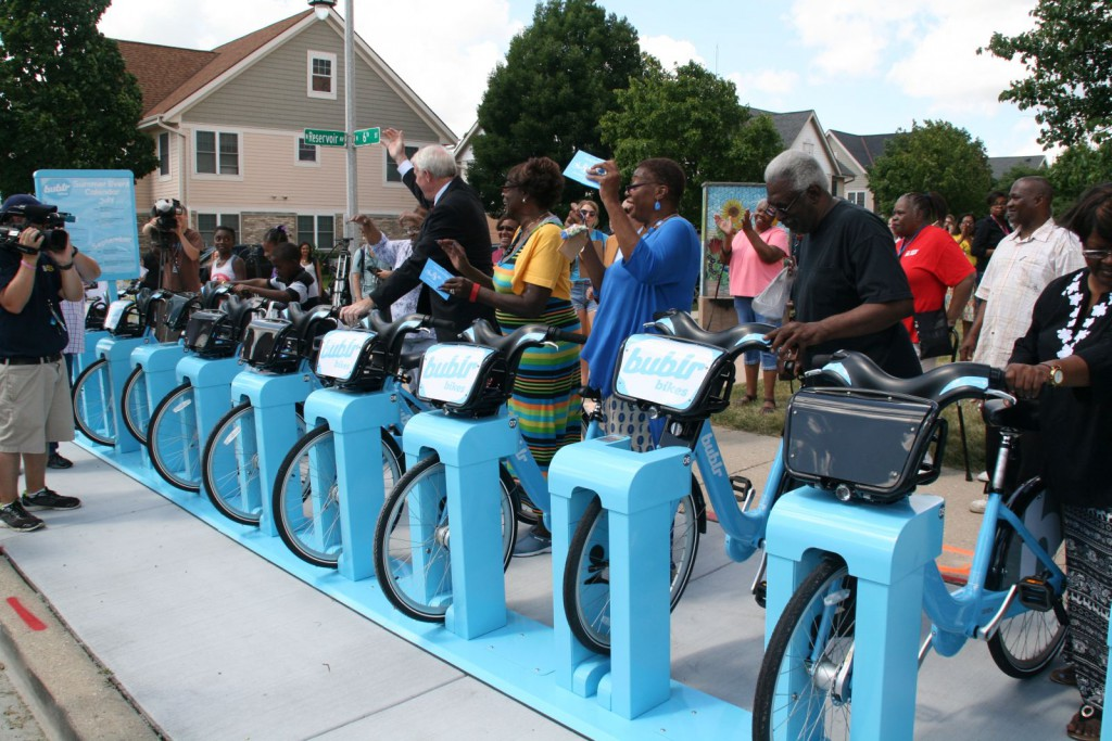 A ceremonial docking at the new Bublr Bikes station.