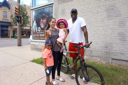 Lucia and William Jenkins, who live with their children in Bronzeville, would like to see Bublr offer cargo bikes. Photo By Rebecca Carballo.