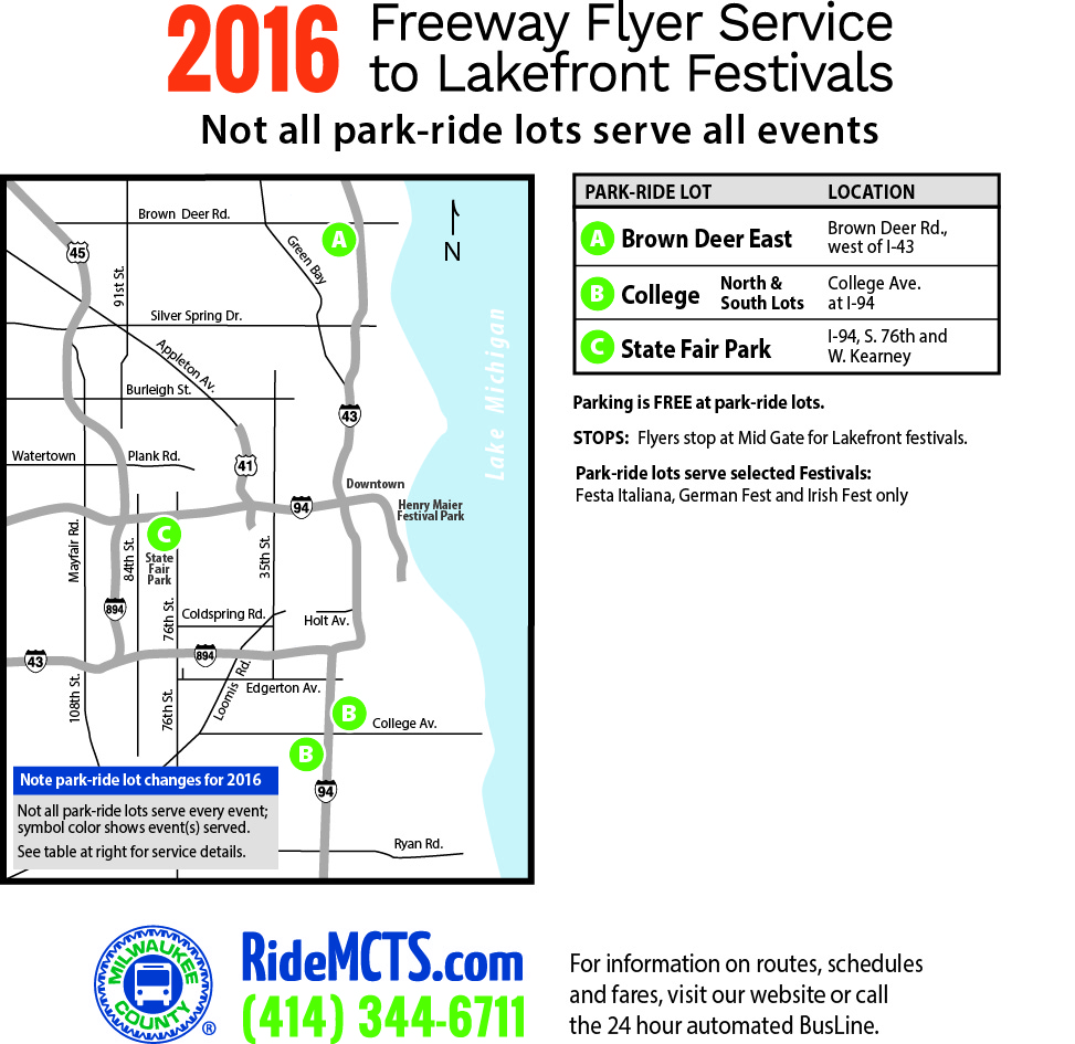 2016 Freeway Flyer Service to Lakefront Festivals