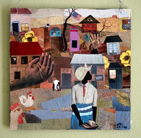 """This collage by Della Wells is entitled """"America Still Hides My Land."""" Photo by Adam Carr."""