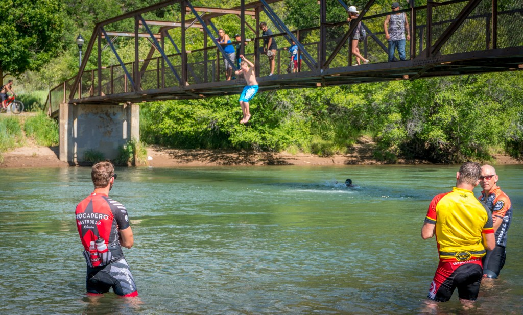 Post-ride hydrotherapy in the cool Animas River brings down inflammation in the legs.