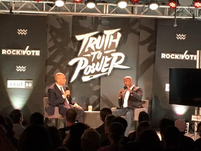 Sen. Cory Booker and Van Jones. Photo by Craig Mastantuono.
