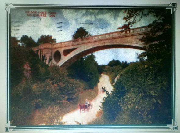 Lake Park Bridge Postcard. Image from the Historic Water Tower Neighborhood website.