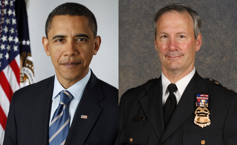 President Barack Obama and Milwaukee Police Chief Ed Flynn.