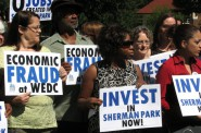 Sherman Park residents call out the Wisconsin Economic Development Corporation for inaccurately reporting the number of jobs it has created in their neighborhood. Photo by Brendan O'Brien.