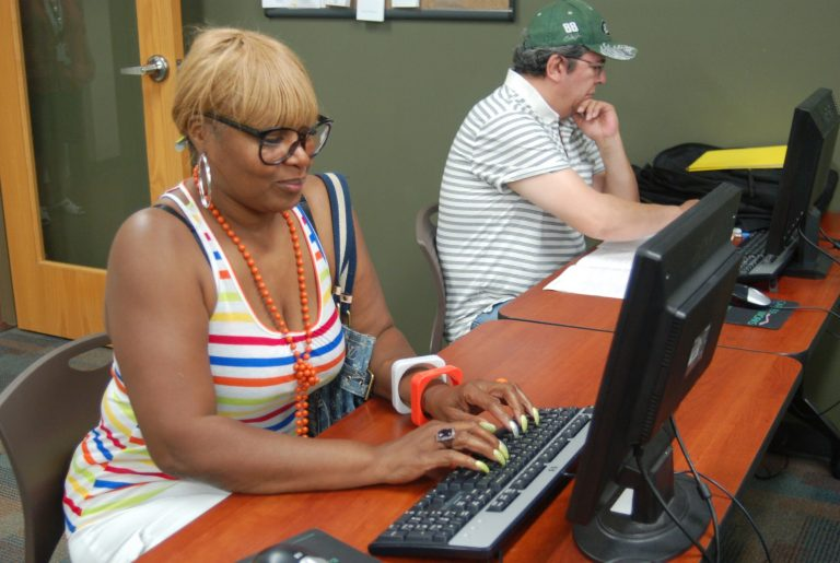Donna Jones, a displaced Cargill worker, is taking early childhood education classes at MATC. Photo by Edgar Mendez.