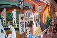 A 9- by 90-foot mural honoring the 50-year legacy of UMOS will eventually be set on a building on South 1st Street and West Mitchell. Photo by Edgar Mendez.