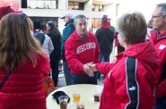 Former U.S. Sen. Russ Feingold works the crowd at Union South before the start of the Badger football game against the Purdue Boilermakers, Oct. 17, 2015 at Camp Randall Stadium. Feingold, a Democrat, is trying to regain the U.S. Senate seat he lost to Republican Ron Johnson six years ago. Photo by Steve Apps of the Wisconsin State Journal.