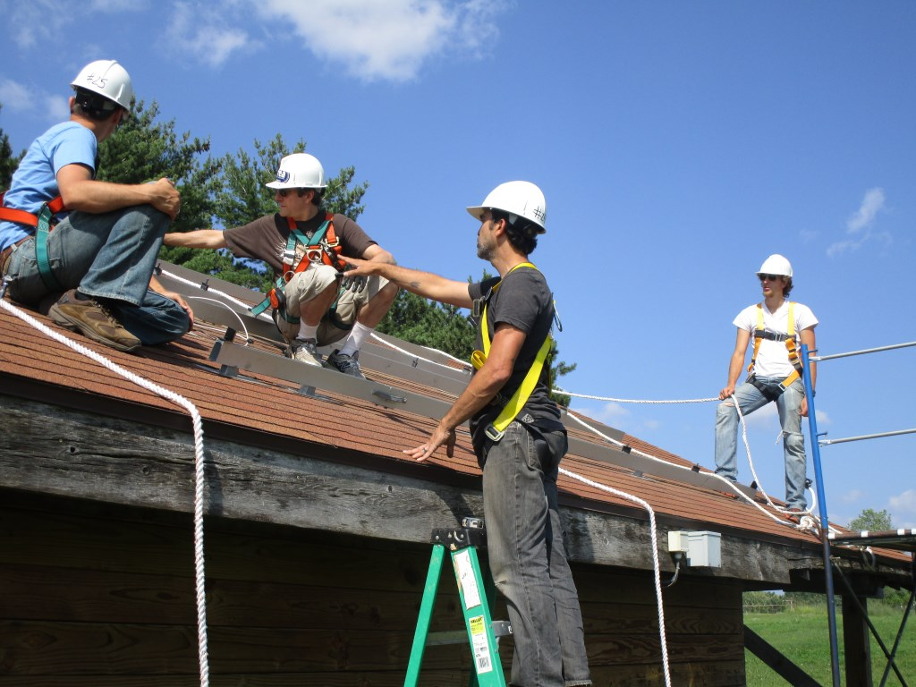Solar training. Photo courtesy of the Midwest Renewable Energy Association.