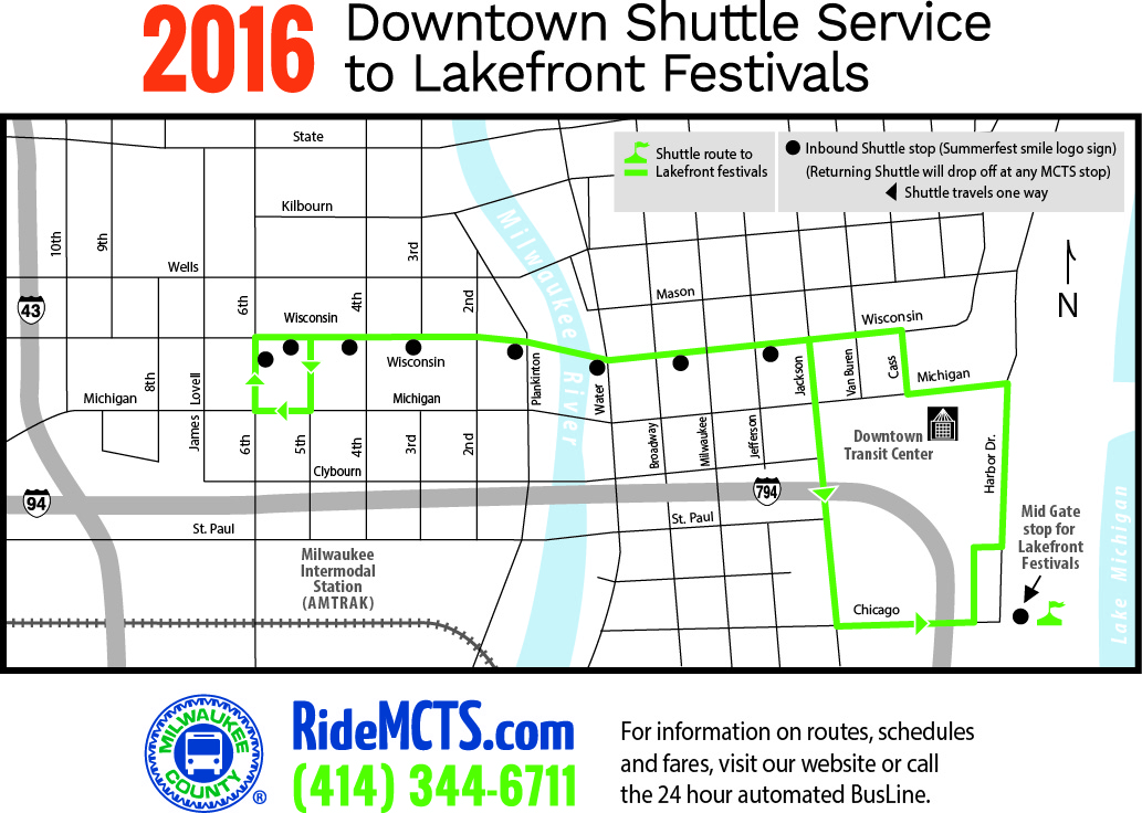 2016 Downtown Shuttle Service to Lakefront Festivals