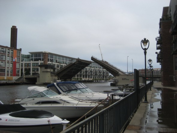 The Broadway bridge opening for a boat to pass. Photo by Michael Horne.