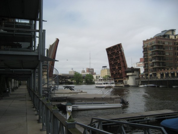 The water street bridge opening for a boat to pass. Photo by Michael Horne.