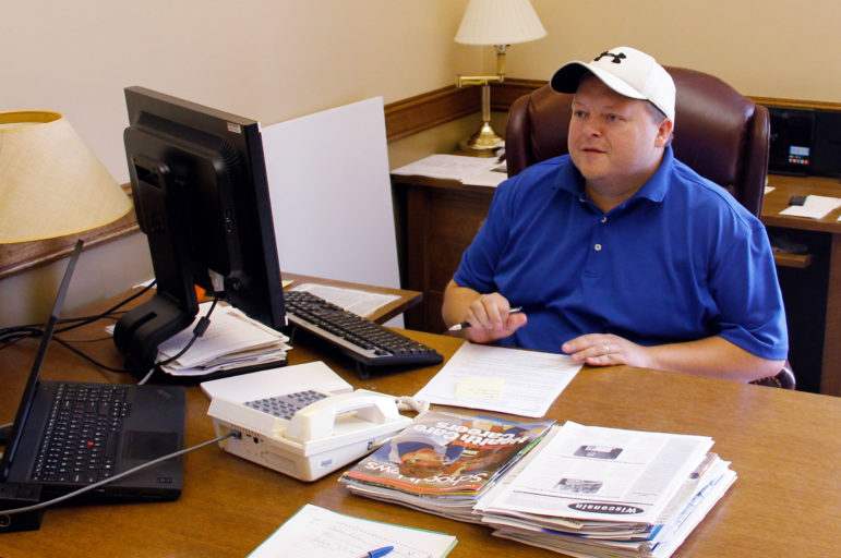 """Rep. Scott Krug, R-Nekoosa, photographed in his office in the Wisconsin state Capitol in Madison, Wis. Krug says it would be """"political suicide"""" to ignore public concerns over water quality and quantity in the 72nd Assembly District. Photo by Andrew Hahn of the Wisconsin Center for Investigative Journalism."""
