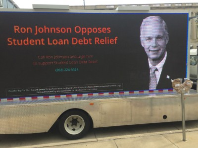 One Wisconsin Now Sponsored Mobile Billboard Encourages People to Tell Wisconsin Senator to Get in Gear and Support Student Loan Debt Reforms