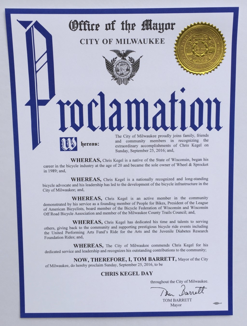 State of wisconsin to declare sunday september 25th chris kegel milwaukee wi in recognition of his numerous contributions to his native state the governor of wisconsin will proclaim sunday september 25 2016 as aiddatafo Gallery