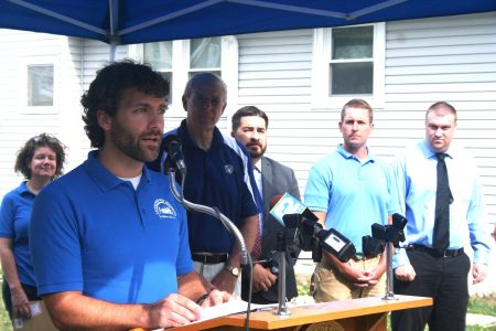 LBWN Executive Director Will Sebern speaks during an August groundbreaking for the first new-construction Turnkey Home. Photo by Jabril Faraj.