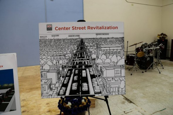 A rendering of the potential Center Street revitalization was on display during the tour. Photo by Allison Steines.