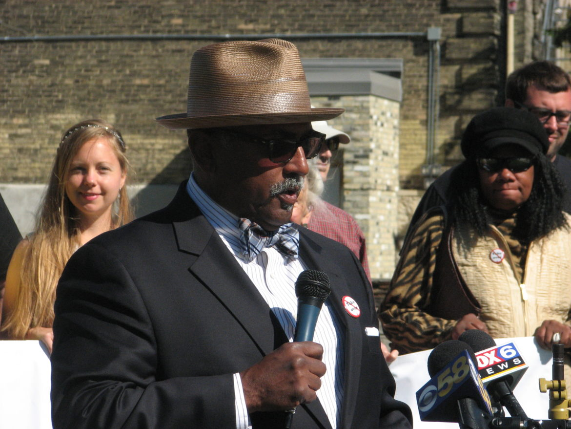 Fred Royal, president of the Milwaukee chapter of the NAACP, speaks at a rally in 2015. Royal spoke at a symposium at Marquette University Sept. 7, challenging Milwaukee Mayor Tom Barrett to take strong action to reduce the danger of lead in the city's drinking water. Photo by Brendan O'Brien of the Milwaukee Neighborhood News Service.