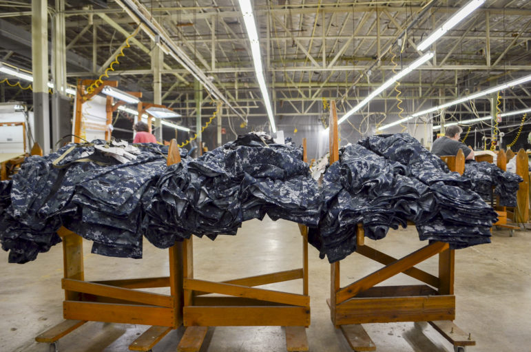 Racoe Inc., a military fabric cutting company, moved into the old OshKosh B'gosh factory in December 1997 in Celina, Tenn. Only six people now work in the 66,000-square-foot building that once employed up to 2,000 people. As the county's economy struggles, many historically Democratic voters are switching to the Republican Party. Photo by Lian Bunny of News21.