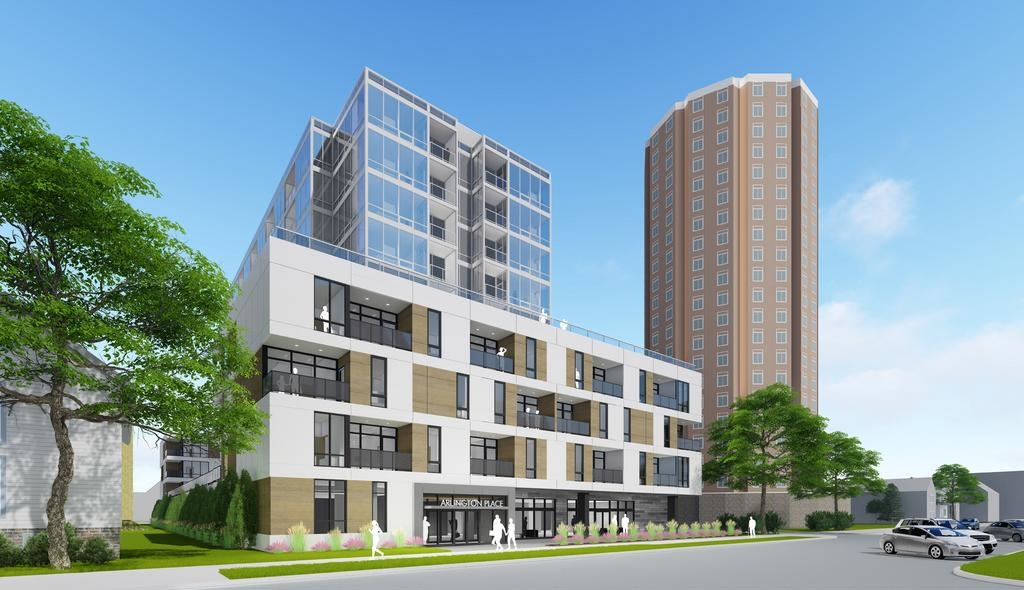 10-story apartment building proposed for 1632 N. Franklin Pl. Rendering by Eppstein Uhen Architects.