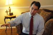 Gov. Scott Walker, seen here at the executive residence in 2014, said criticisms over Wisconsin's current voting laws are unfounded. Photo by Kate Golden of the Wisconsin Center for Investigative Journalism.