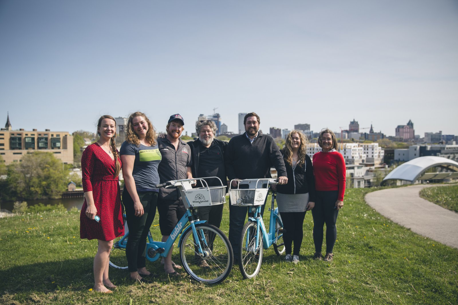 The Wheel & Sprocket team and Kegel Family. Photo courtesy of Bublr Bikes.
