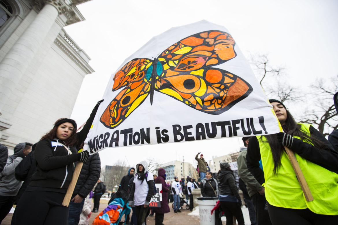 Latinos protest immigration bills and demonstrate their contribution to the Wisconsin economy outside the state Capitol building in Madison, Wis., on Feb. 18, 2016 during the 'Dia Sin Latinos,' or Day Without Latinos, event. Photo by Saiyna Bashir of the Cap Times.