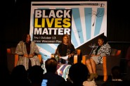 Co-founders of Black Lives Matter Patrisse Cullors (left) and Alicia Garza answered questions from the audience and moderator Charmaine Lang (center). Photo by Adam Carr.