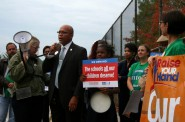 "MPS Board President Mark Sain speaks before the school ""walk-in"" at Neeskara Elementary School. Photo by Jabril Faraj."