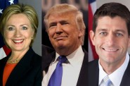 Hillary Clinton, Donald Trump and Paul Ryan.