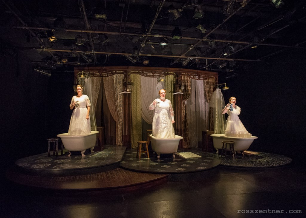 Susie Duecker, Marcee Doherty Elst, and Elyse Edelman in The Drowning Girls. Photo by Ross E. Zentner.