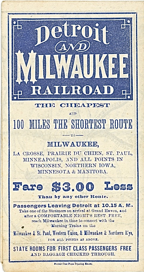 This illustration for the Detroit and Milwaukee Railroad dates from July 1872. Image courtesy of Jeff Beutner.