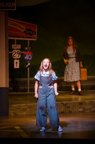 Kylee Hennes (Young Violet), Allie Babich (Violet) in Skylight Music Theatre's Violet. Photo by Mark Frohna.