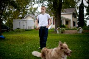 """Jacob Reeves, pictured at home in Stoughton, was diagnosed in 2014 with juvenile dermatomyositis — a rare disease that his mother Dawn attributes to the high level of atrazine found in their well water. """"I only cried once,"""" Dawn Reeves said, """"when they said he might not walk again."""" Photo by Coburn Dukehart of the Wisconsin Center for Investigative Journalism."""