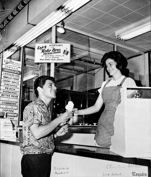 Cultural icons in their communities, frozen custard stands have always attracted celebrities, like actor Frankie Avalon, seen here at Kohr's. Courtesy of Kohr Bros. Reprinted from Milwaukee Frozen Custard by Kathleen McCann and Robert Tanzilo (The History Press, 2016).