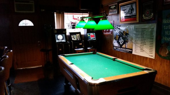 Pool table inside the Squirrel Cage. Photo by Jordan Garcia.