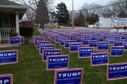 This picture, of a yeard in West Carrollton, Ohio, is not doctored, as many assumed when it went viral last spring. It was real. As was the Trump white working-class groundswell. Photo by Alec MacGillis of ProPublica.