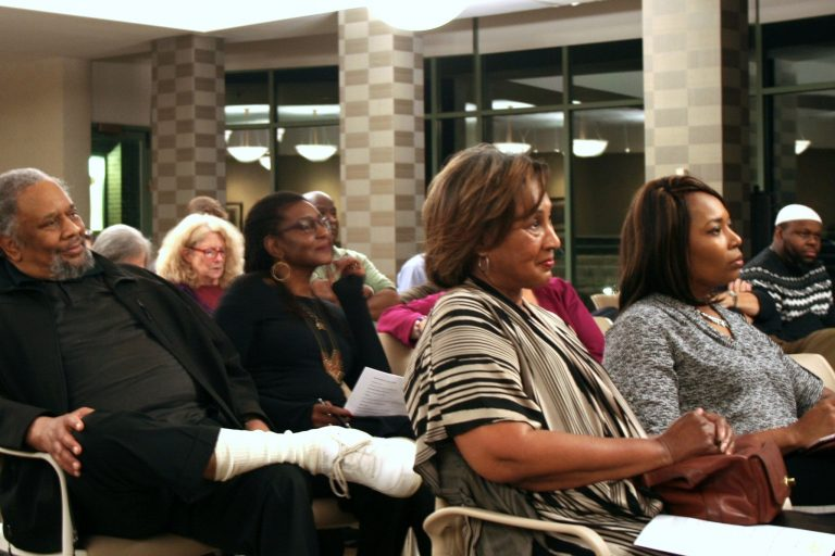 About 60 residents and city leaders attended a panel discussion sponsored by the Community Coalition for Quality Policing at the Jewish Home and Care Center, 1410 N. Prospect Ave. Photo by Jabril Faraj.