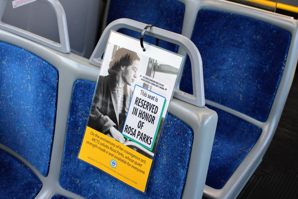Every bus in the MCTS fleet will have a seat reserved in honor of Rosa Parks. Photo courtesy of MCTS.