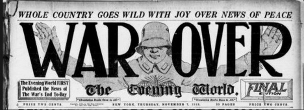 Armistice Day headline.