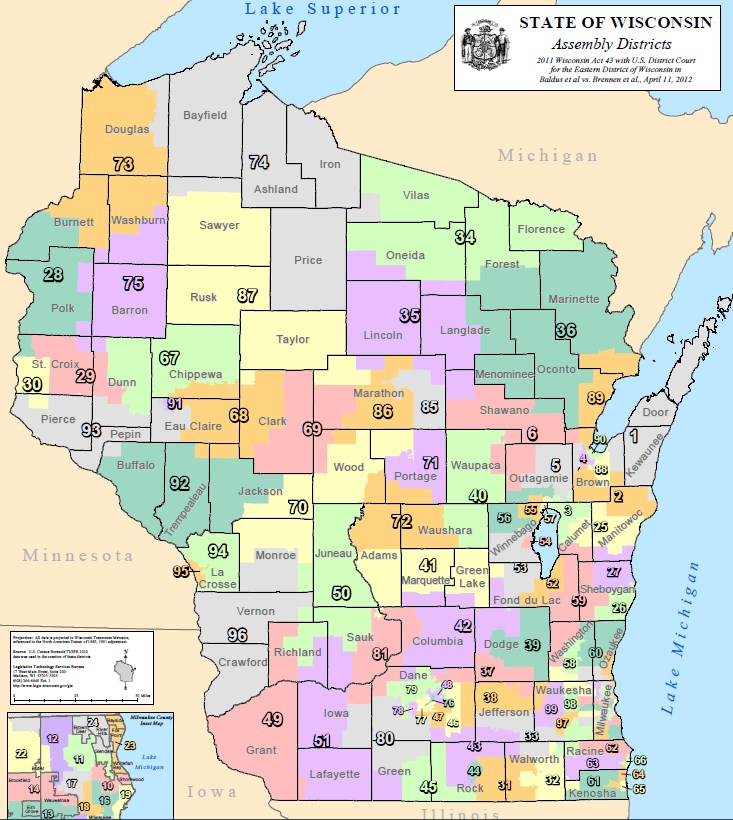 Wisconsin Federal Court Permanently Blocks State Redistricting - Wisconsin on the us map