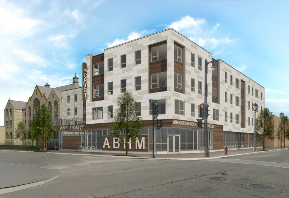 The Griot Apartments - N. 4th St. and W. North Ave. View. Rendering by Eppstein Uhen Architects.