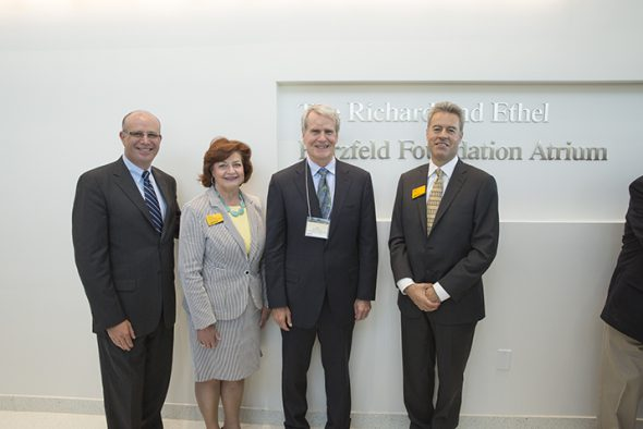 UWM Foundation President David Gilbert; Patricia Borger, UWM vice chancellor for Development & Alumni Relations; F. William Haberman, president of the Herzfeld Foundation; and UWM Chancellor Mark Mone. Photo courtesy of UWM.