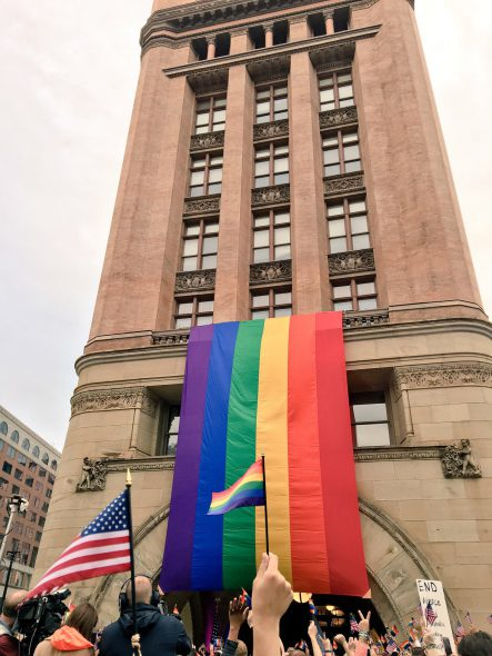 #PrayForOrlando vigil at city hall. Photo by Kate Sherry.