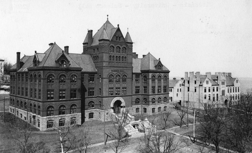 Science Hall, where Earle Terry and his students built 9XM. The Chemical Laboratory (600 N. Park) to the right provided the first home for WHA-TV in 1954. WHi Image ID 58314